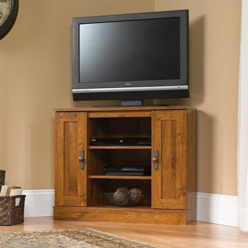 harvest mill corner entertainment stand abbey oak finish center 3 piece for 60 inch tv used
