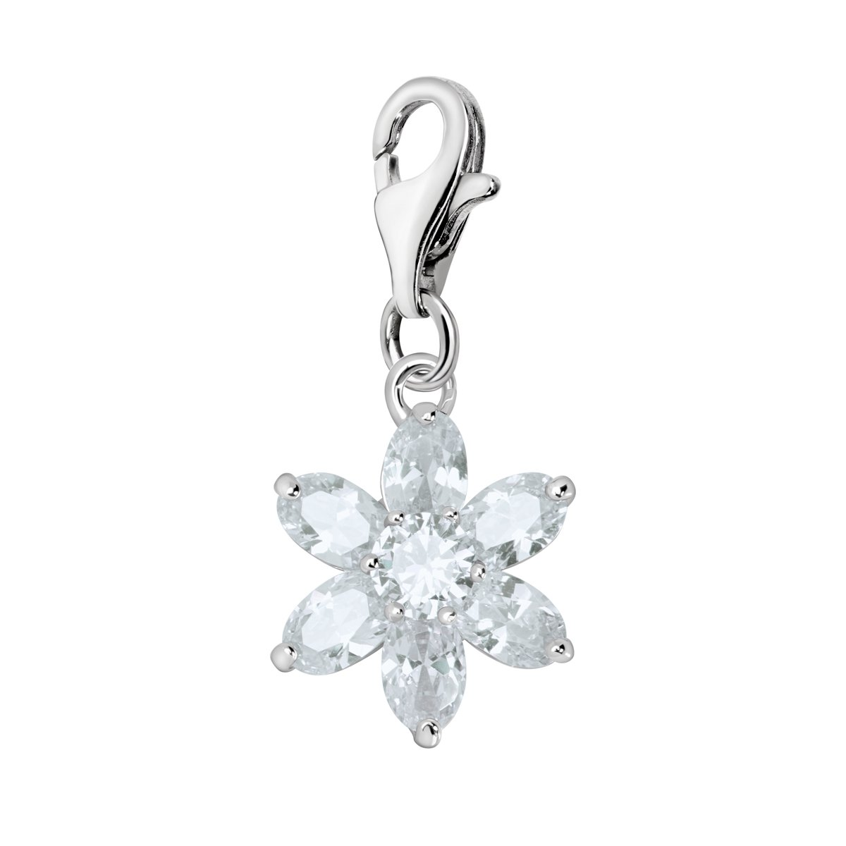 Quiges 925 Sterling Silver Crystal White Pear Cubic Zirconia Flower Lobster Clasp Charm Clip on Pendant
