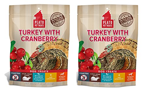(PLATO Dog Treats -Turkey with Cranberry- 12 oz (2 pack))