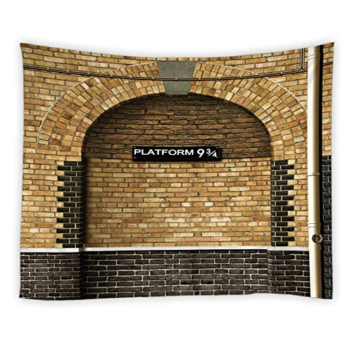 AMNYSF Platform and 9 3/4 Tapestry Wall Hanging Magic Door Yellow and Black Wall London's King's Cross Station Decor Tapestries for Bedroom Living Room Dorm 80X60 Inch