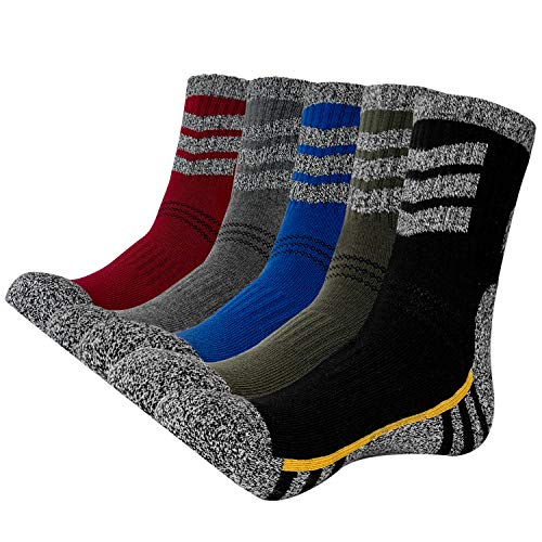 KONY Men's Trekking Hiking Socks, Cotton Moisture Wicking Thick Cushioned Outdoor Crew Socks, Mid Calf, Size 12-14(Mix-2, Large)