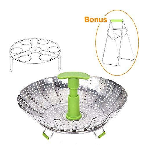 Bowl Rack (Vegetable Steamer Basket - Steam Rack Basket Set for Instant Pot Pressure Cooker, Food Grade Stainless Steel, Expandable Steam Basket Fit Various Size Pot, Egg Steaming Rack BONUS Hot Plate Bowl Clamp)