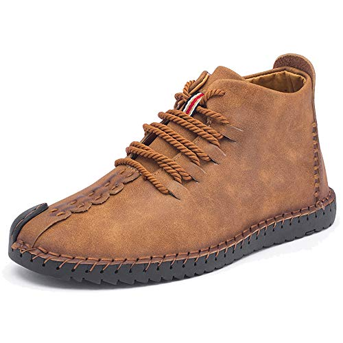 TUCSSON Winter Shoes Mens Handmade Flats Driving Shoes Plus Velvet Oxford Leather Shoes Outdoor Casual Sneakers