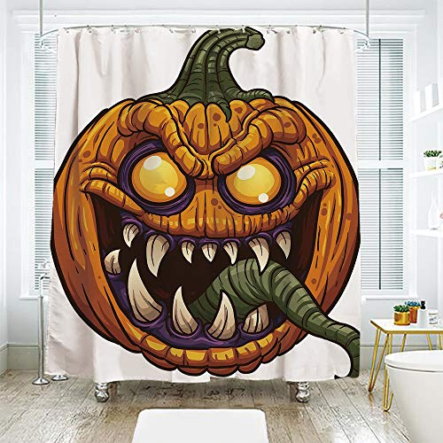 scocici DIY Bathroom Curtain Personality Privacy Convenience,Halloween,Scary Pumpkin Monster Evil Character with Fangs Aggressive Cartoon,Purple Orange Dark Green,78.7