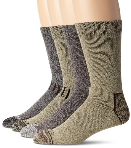 Review Dickies Men's 4 Pack All Season Marled Moisture Control Crew Socks, Brown Assortedment, Sock Size:10-13/Shoe Size: 6-12