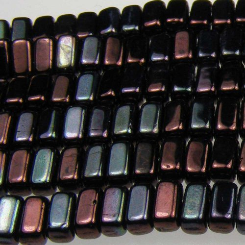 (Czechmate 2mm X 6mm Brick Glass Czech Two Hole Bead - Luster Metallic Amethyst (50 beads))