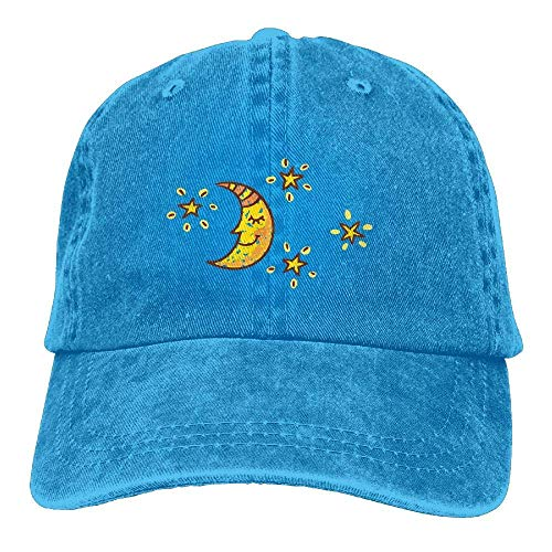 DEFFWB Hat Moon Star Denim Skull Cap Cowboy Cowgirl Sport Hats for Men Women