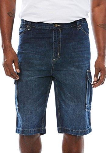 Liberty Blues Men's Big & Tall Denim Cargo Shorts, Medium Blue Tall-40 (Denim Welt Pocket)