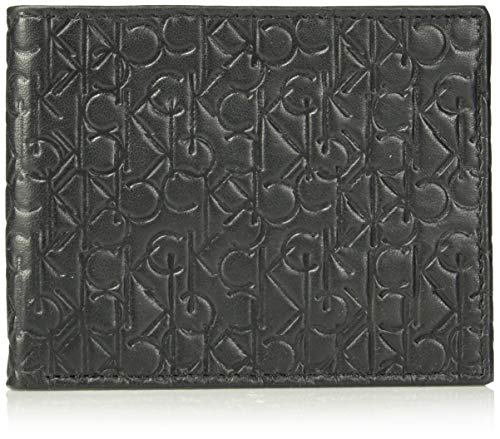 - Calvin Klein Men's Logo Embossed Leather Bifold Wallet, black, One Size