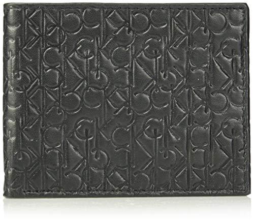 Calvin Klein Men's Logo Embossed Leather Bifold Wallet, black, One - Wallet Leather Calvin