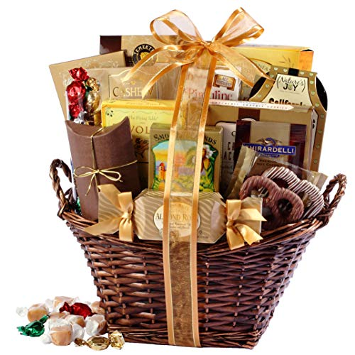 Gourmet Gift Basket of Chocolates, Cookies and Snacks Food Gift Baskets. The for Birthdays, Sympathy or Any Occasion