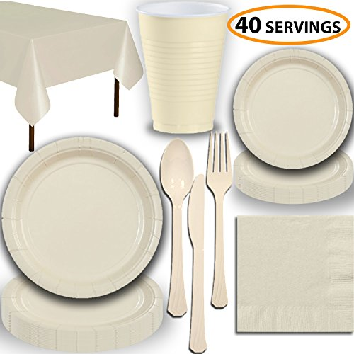 Disposable Party Supplies, Serves 40 - Cream - Large and Small Paper Plates, 12 oz Plastic Cups, Heavyweight Cutlery, Napkins, and Tablecloths. Full Tableware -