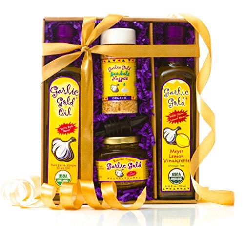 Pizza Meat Lovers (USDA Organic Gourmet Garlic Lovers Gift Box - Garlic infused extra virgin olive oil, Meyer lemon vinaigrette, Garlic flavored sea salt toasted nuggets, Olive Oil with garlic, No MSG Sugar Free Vegan)