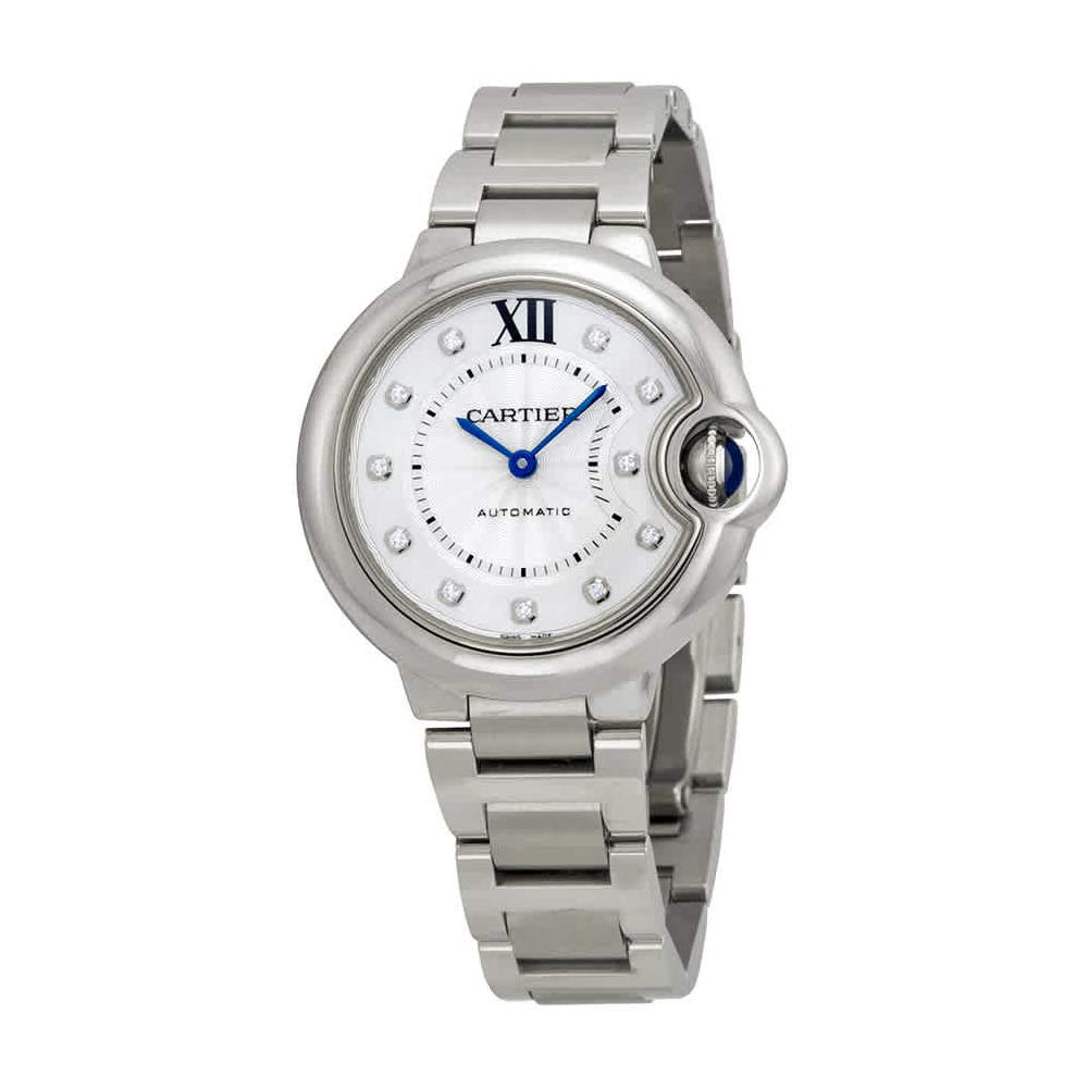 Cartier Ballon Bleu 33mm Ladies Automatic Stainless Steel with Diamond Dial Watch - WE902074 by CARTIER