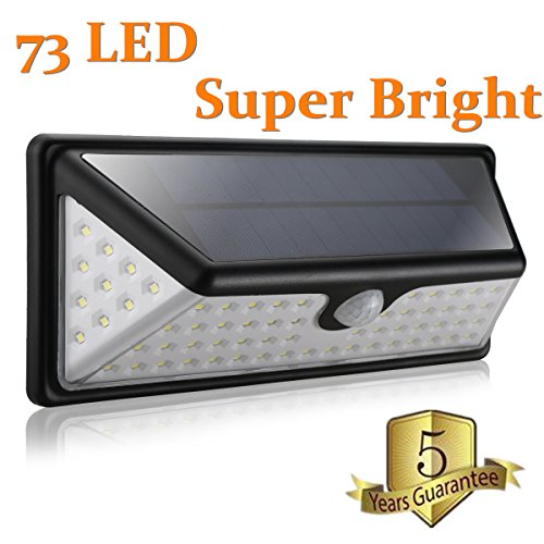 Solar Lights Outdoor,Super Bright 73 LED Waterproof Motion Sensor Wide Angle Illumination Solar wall Light with 10 LED on Both Sides. Wireless Security Lights for Wall, Driveway, Patio, Yard, Garden