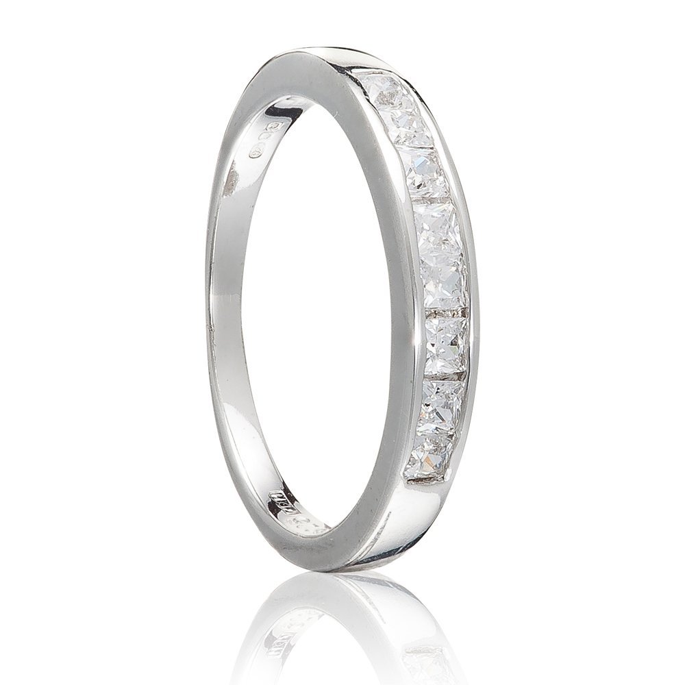 925 Sterling Silver UK Hallmarked 1ct Princess Cut Lab Diamond Solitaire Eternity 2pc Wedding Engagement Ladies Ring Bands Set EnHbAsFaAV