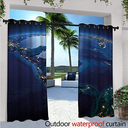 Rica Lodges Costa (World Outdoor Privacy Curtain for Pergola W84 x L84 Countries of Central America Earth at Night Costa Rica Nicaragua Pacific Ocean Thermal Insulated Water Repellent Drape for Balcony Blue Forest Gr)