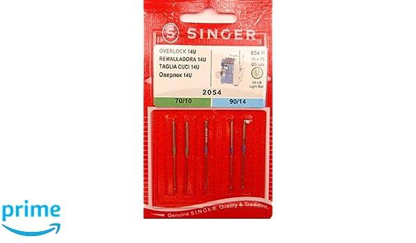 5 original Singer Overlock 14U coser agujas 2054 grosor 70/10 y 90/14: Amazon.es: Hogar