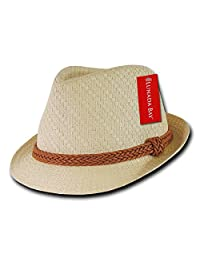 DECKY Paper Straw Fedora, Natural, Large/X-Large
