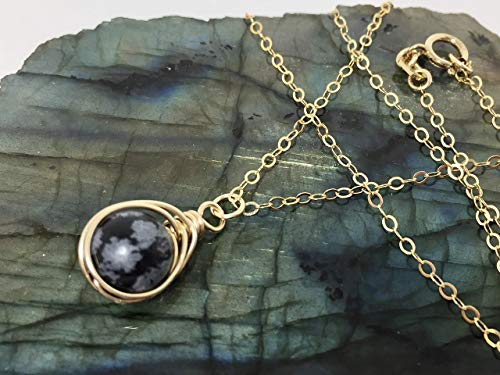 (Snowflake Obsidian Necklace 14K Gold Filled Chain And Clasp Black Stone)