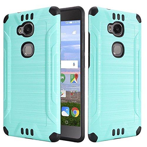 (Huawei Sensa LTE Case - Wydan Slim Hybrid Brushed Metal Texture Combat Shockproof Phone Cover - Teal on Black )