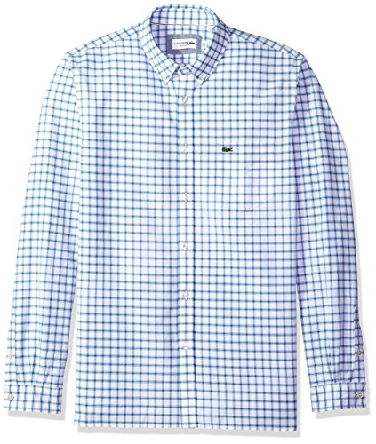 Lacoste Mens Long Sleeve Oxford Tiled Button Down Collar Reg Fit Woven Shirt, CH5814