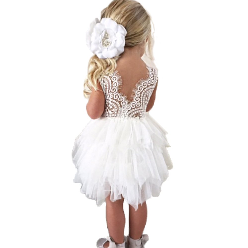 Backless A-line Lace Back Flower Girl Dress (5Y, White)