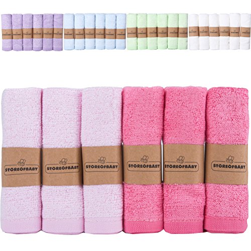 Storeofbaby Baby Girl Washcloths Bamboo Organic Towels for Newborn Soft Absorbent 6 Pack 10