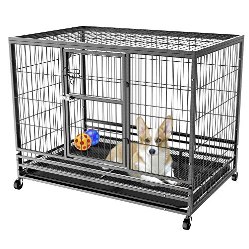 Yaheetech Heavy Duty Collapsible Rolling Dog Crate Double Door Strong Metal Pet Kennel Playpen w/Feeding Door/Tray,43L x 28.3W x 35H Inches For Sale
