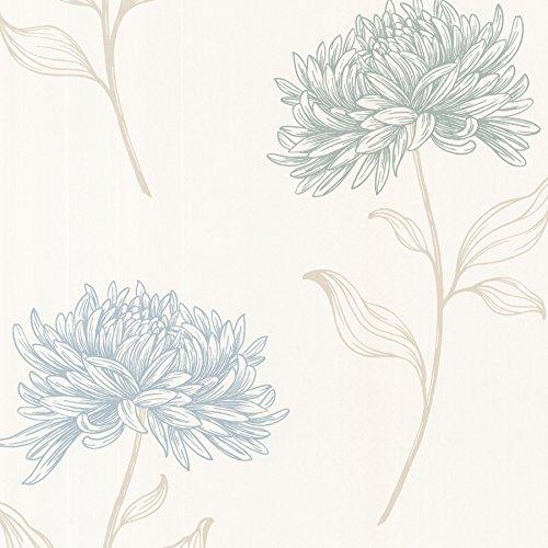 Brewster 2532-20431 Dehlia  Floral Toss Wallpaper, Blue
