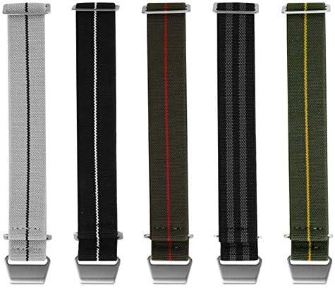 時計バンド Natoナイロン弾性ベルト時計バンド18 mm 20 mm 22 mm時計ストラップのフランス軍パラシュートバッグ (22mm グリーン/レッド)