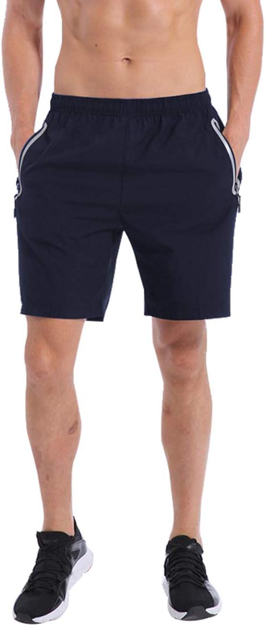 QRANSS pantalones cortos de entrenamiento para hombre con bolsillos con cremallera