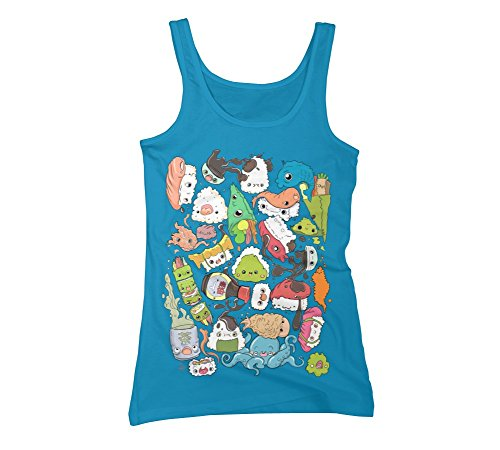 Sushi Bar: The point of Nori-turn Women's X-Large Turquoise Graphic Tank Top