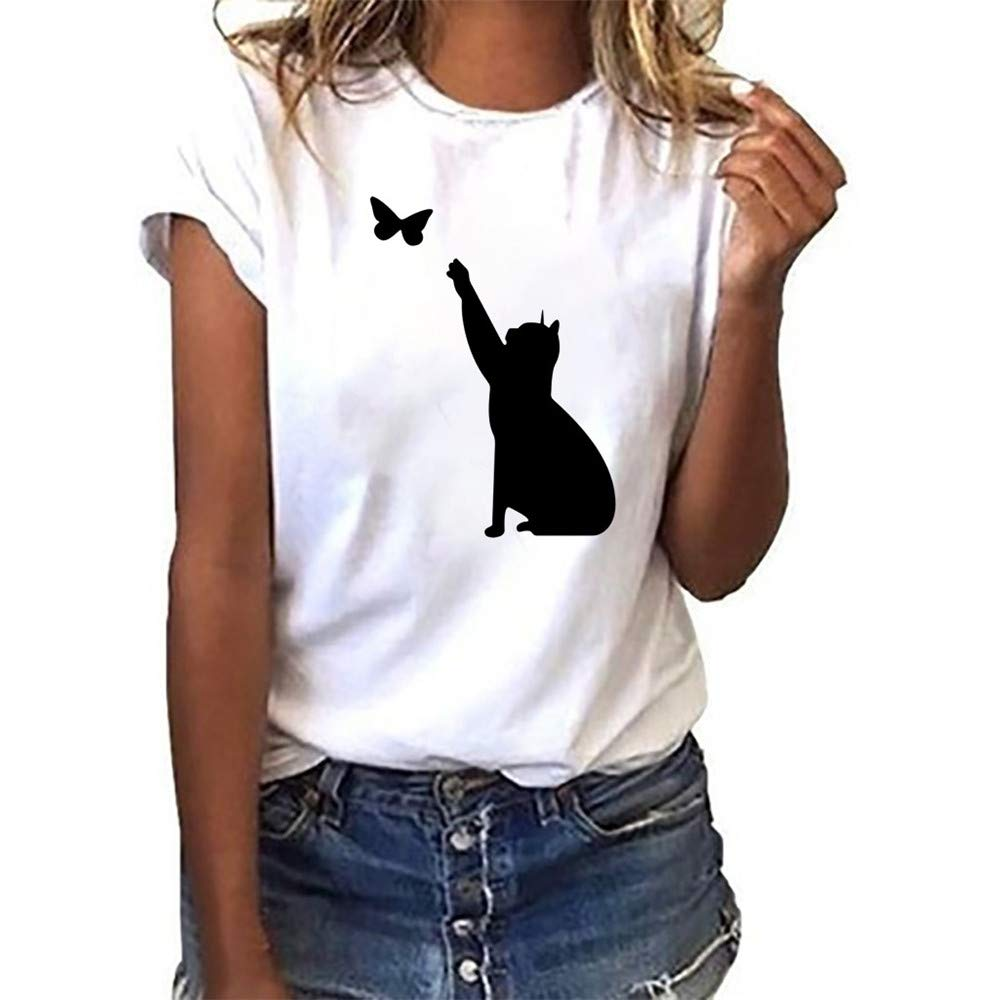 CofeeMO Women's Cute Fashion Black Cat Printed Short Sleeve Tees Tops,Casual Round Neck T-Shirts Blouse(White,L)