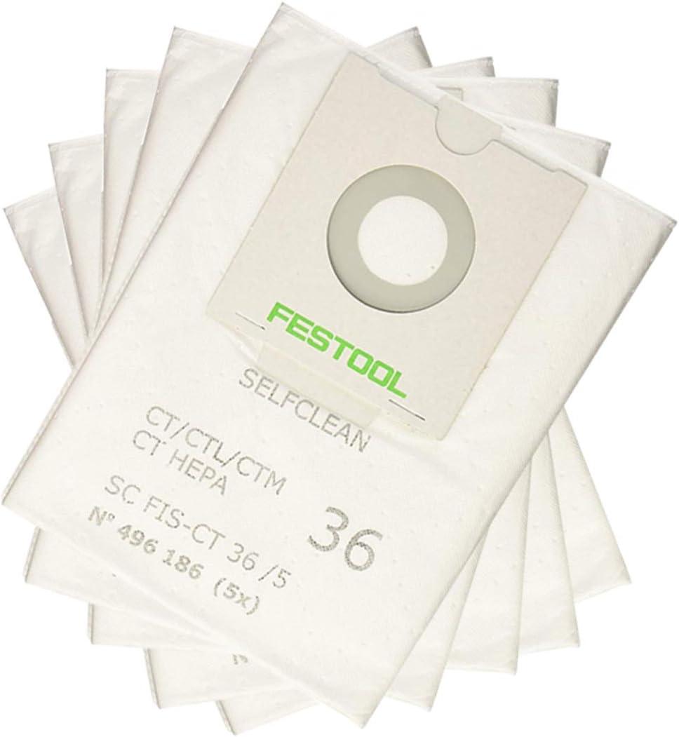 LongRong - 5 bolsas de filtros autolimpiadores Sc Fis-ct 36 para aspiradora industrial Festool 496186: Amazon.es: Hogar