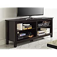 WE Furniture 58 Solid Wood TV Stand Console, Espresso
