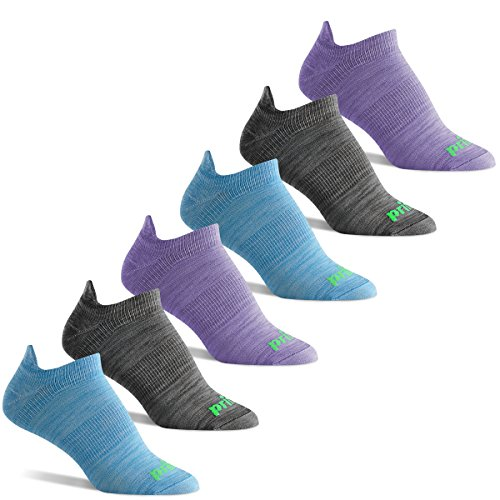 Prince Women's Tab Performance Athletic Socks with Arch Support for Running, Tennis, and Casual Use (6 Pair Pack) (Women's Shoe Size 6-10 (US), Blue/Charcoal/Purple)