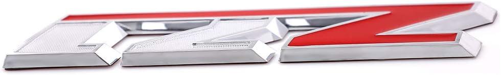 3D Z71 Emblem Decal Badge For Silverado GMC Colorado Sierra Tahoe Suburban 2500Hd 3500Hd Large Size Silver-Red