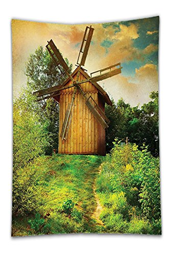 Beshowereb Fleece Throw Blanket Wooden Windmill Decor Green Forest Jungle Traditional Holland Energy SourceNatural View Decorative Soft Silky Satin for Living Room Bedroom Green Brown Lime - Mills Pittsburgh