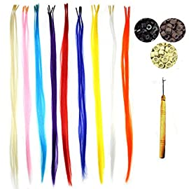 50 Pack Pretty Colors Hair Extensions Kit, Assorted Synthetic Hair Extensions, Stick Tip 14-16″ Long With Installation Tools(Threading Hook + 100 Micro Beads)
