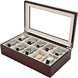 Watch Box for 10 Watches Wood Finish XL Extra Large Compartments Fits 63mm Soft Cushions Clearance Glass Window (Cherry)