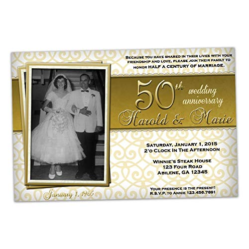 (Golden Photo 50th Wedding Anniversary Invitations Party)