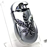 D2-S1 Cannabis Emblem Pocket Torch Lighter - Dual Flames - 2.75 Inch - Unboxed -