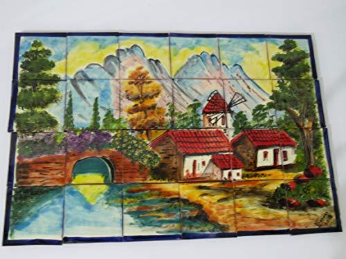 TALAVERA MOSAIC MURAL mexican tile backsplash, windmill in - Windmill Tile