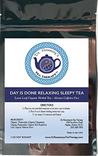 Gelcaps Capsules 90 - Sleep Tea Aid for Insomnia - Day Is Done Relaxing Blend - Organic Caffeine Free Loose Leaf Herbal Tea- Chamomile Valerian Raspberry Cinnamon & Peppermint - By Dr. Rosemary's Tea Therapy Fight Insomnia