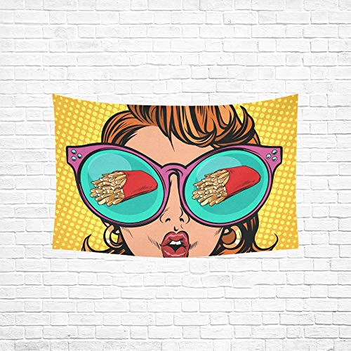 ch Fries Serving Woman Reflection Glasses Tapestries Wall Hanging Flower Psychedelic Tapestry Wall Hanging Indian Dorm Decor for Living Room Bedroom 6040inch ()