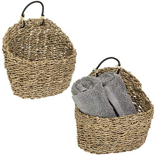 MyGift 8-Inch Handmade Weave Hanging Storage Baskets, Set of 2 (Wicker Wall Baskets Hanging)