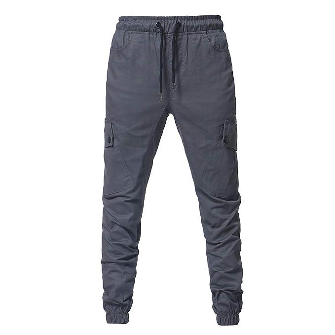 Pantalones Largos para Hombre, Moda Hombres Deporte Puro Color ...