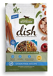 Rachael Ray Nutrish DISH Natural Dry Dog Food, Grain Free Chicken & Potato Recipe with Veggies & Fruit, 22.5 lbs
