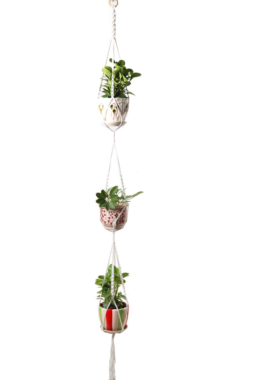 3 Tier Plant Hanger Handwork Classic Macrame Rope 4 Legs Hanging Holder Flower Baskets Pot Indoor Outdoor Plant-Racks Juzi - 70 inch (White)